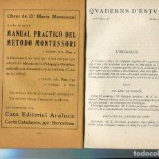 Libros antiguos: LIBRO 1916 EN CATALAN PUBLICIDAD DE METODO MONTESSORI CONSTRUCCIONS DOMENEC MONCANUT VIUDA MOYA. Lote 81062684