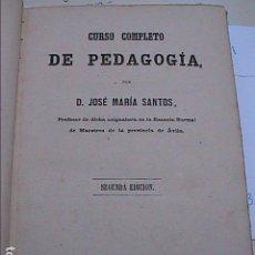 Libros antiguos: CURSO COMPLETO DE PEDAGOGIA. 1875. D.JOSÉ Mª SANTOS. MADRID.LIBRERIA DE HERNANDO.. Lote 95446587