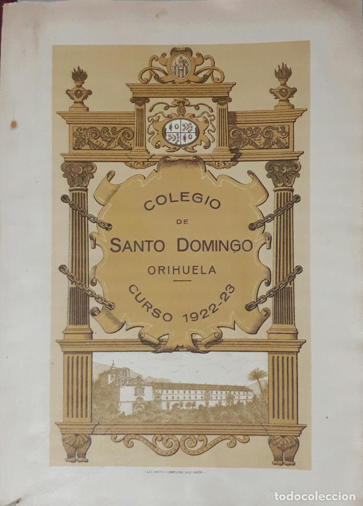 ORIHUELA COLEGIO DE SANTO DOMINGO FIESTAS DEL CINCUENTENARIO 1923 ALICANTE (Libros Antiguos, Raros y Curiosos - Ciencias, Manuales y Oficios - Pedagogía)
