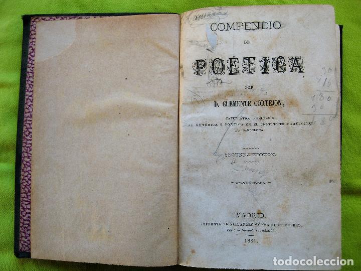 Libros antiguos: COMPENDIO DE POÉTICA POR D.CLEMENTE CORTEJON - Foto 3 - 102741143
