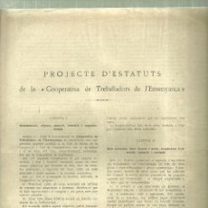 Libros antiguos: 519.- PEDAGOGIA-SINDICALISME-PROJECTE D`ESTATUT DE LA COOPERATIVA DE TREBALLADORS DE L`ENSENYANÇA . Lote 109373271
