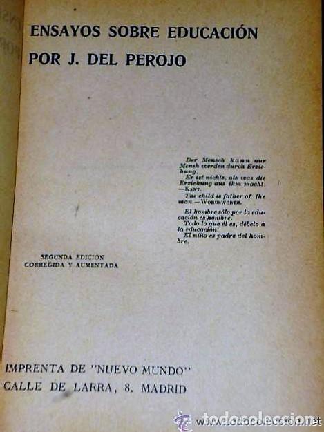 Libros antiguos: ENSAYOS SOBRE EDUCACIÓN. - Foto 2 - 111427723