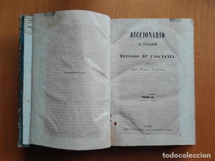 Libros antiguos: Diccionario de educacion y métodos de enseñanza... Mariano Carderera, 1854-1858. IV Tomos 1ª Ed. - Foto 2 - 113919751
