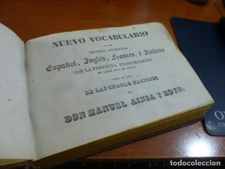 nuevo vocabulario de los idiomas modernos español,ingles,frances e italiano, ainsa y royo 1836 segunda mano