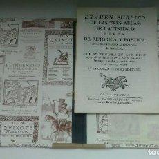 Libros antiguos: EXAMEN PÚBLICO DE LAS TRES AULAS DE LATINIDAD, RETÓRICA Y POÉTICA (1789)/ SEMINARIO EPISCOPAL BARCEL. Lote 120313615