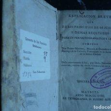 Libros antiguos: EXPLICACION BREVE PRINCIPIOS ORACIONES GRAMATICO Y LATINO PEDRO MIGUEL 1818 MADRID . Lote 121436239
