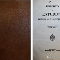 Libros antiguos: REGLAMENTO DE ESTUDIOS DECRETADO POR S.M. EN 10 DE SETIEMBRE DE 1852. MADRID, (1852).. Lote 121639563