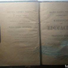 Libros antiguos: ESTUDIOS SOBRE EDUCACION. FRANCISCO GINER.( BIBLIOTECA ECONOMICA FILOSOFICA VOL XXVI ) 1886. Lote 134057729