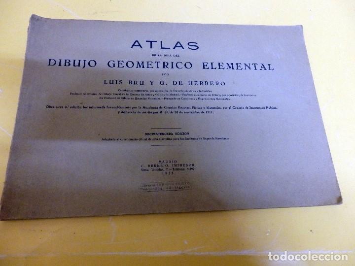 ATLAS DE DIBUJO GEOMÉTRICO ELEMENTAL DE 1935 (Libros Antiguos, Raros y Curiosos - Ciencias, Manuales y Oficios - Pedagogía)