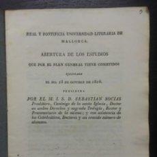 Libros antiguos: REAL Y PONTIFICIA UNIVERSIDAD LITERARIA DE MALLORCA, ABERTURA DE ESTUDIOS, SEBASTIAN SOCIAS, 1826. Lote 140306190