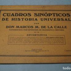 Libros antiguos: CUADROS SINOPTICOS DE HISTORIA UNIVERSAL. MARCOS DE LA CALLE. 1922. Lote 178604257