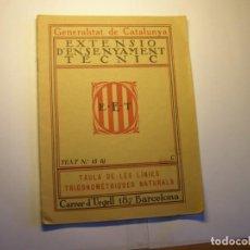 Libros antiguos: LIBRO LINEAS TRIGONOMÉTRICAS. EXTENSIÓ ENSENYAMENT TÈCNIC, GENERALITAT DE CATALUNYA, AÑOS 30.. Lote 183411891