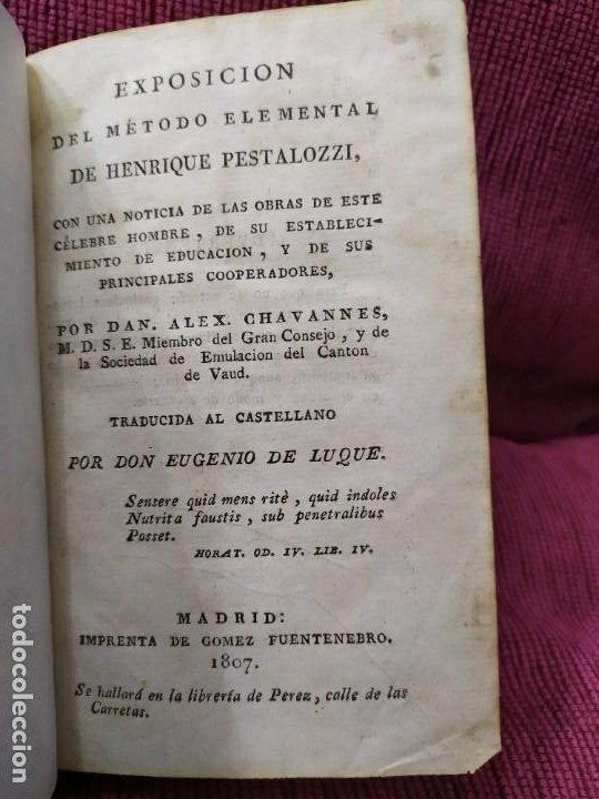 1807. EXPOSICIÓN DEL MÉTODO ELEMENTAL DE HENRIQUE PESTALOZZI. ALEX CHAVANNES. (Libros Antiguos, Raros y Curiosos - Ciencias, Manuales y Oficios - Pedagogía)