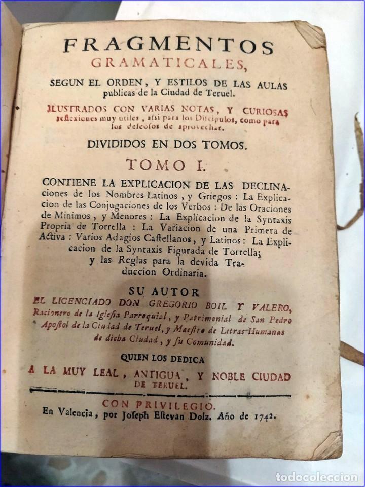 Libros antiguos: AÑO 1742. FRAGMENTOS GRAMATICALES. PERGAMINO ESPAÑOL. DEDICADO AL SENADO DE LA CIUDAD DE TERUEL. - Foto 2 - 193952612