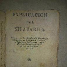 Libros antiguos: SILABARIO DEL REAL COLEGIO DE BARCELONA - VILLANUEVA AÑO 1800 - MUY RARO.. Lote 196974515