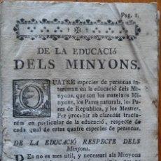 Libros antiguos: INSTRUCCIONS PER LA ENSENYANSA DE MINYONS, BALDIRI REXACH, SIGLO XVIII. Lote 208389043