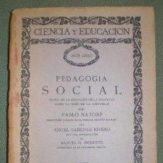 Libros antiguos: NATORP, PABLO: PEDAGOGIA SOCIAL. TEORÍA DE LA EDUCACIÓN DE LA VOLUNTAD SOBRE LA BASE DE LA COMUNIDAD. Lote 209777953