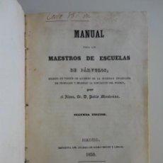 Libros antiguos: PABLO MONTESINO - MANUAL PARA LOS MAESTROS DE ESCUELAS DE PÁRVULOS 1850 + 2 OBRAS PEDAGOGÍA. Lote 214579788