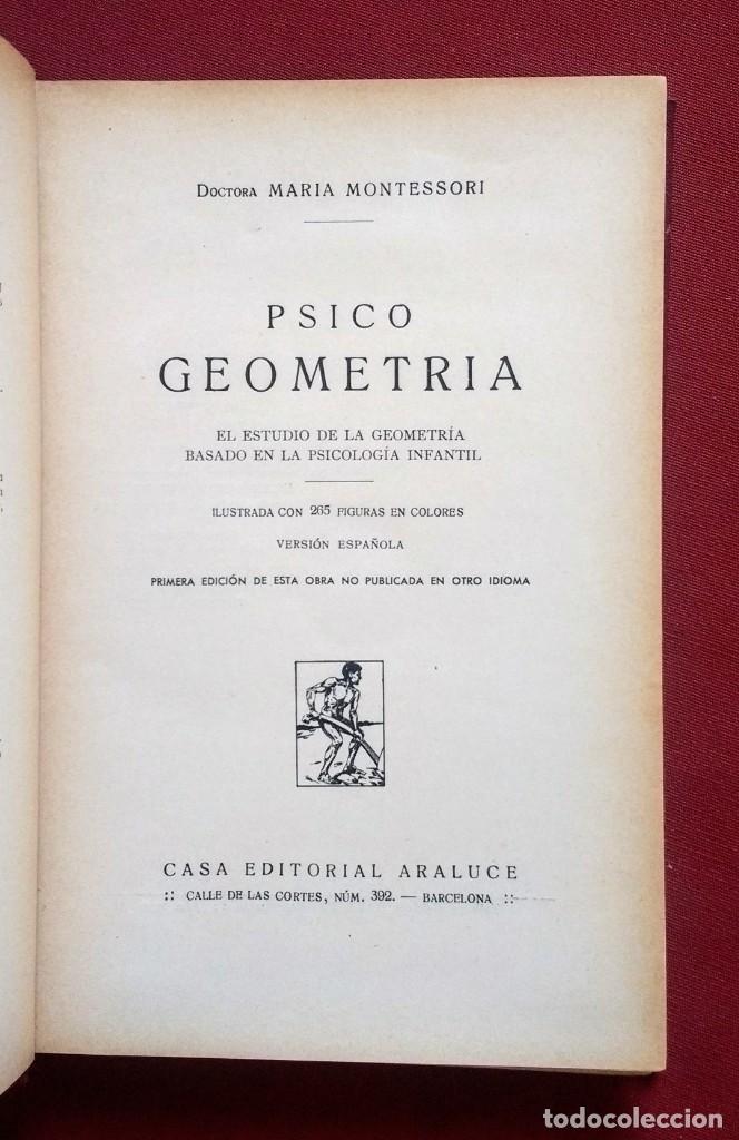 Libros antiguos: PSICO-GEOMETRIA - Dra. MONTESSORI - 1ª EDICION - 1934 - Foto 2 - 215780541