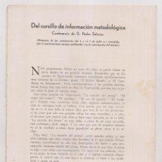 Libros antiguos: PEDRO SALINAS; DEL CURSILLO DE INFORMACIÓN METODOLÓGICA. CONFERENCIA. MADRID, 1934. Lote 220751845