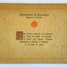 Libros antiguos: FESTA ESCOLAR CELEBRADA EN LES ESCOLES DE BOSC DEL PARC DE MONTJUIC, EN HONOR DELS SENYORS MESTRES... Lote 123154296