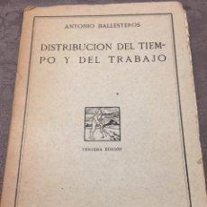 Libros antiguos: DISTRIBUCIÓN DEL TIEMPO Y DEL TRABAJO. ANTONIO BALLESTEROS 1931. Lote 224358451