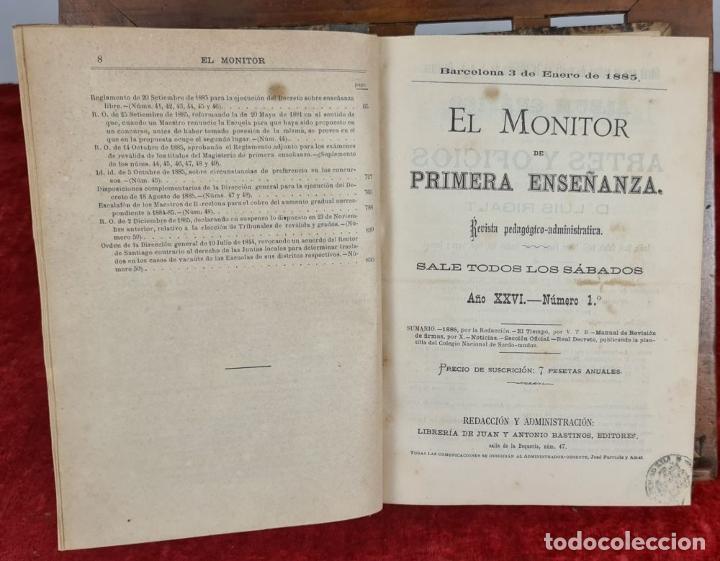 Libros antiguos: EL MONITOR DE PRIMERA ENSEÑANZA. EDIT. ANTONIO BASTINOS. 4 VOL. 1885/1902. - Foto 3 - 224863937