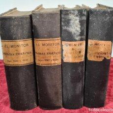 Libros antiguos: EL MONITOR DE PRIMERA ENSEÑANZA. EDIT. ANTONIO BASTINOS. 4 VOL. 1885/1902.. Lote 224863937