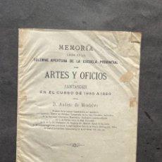 Libros antiguos: 1885 - APERTURA DE LA ESCUELA DE ARTES Y OFICIOS DE SANTANDER. Lote 243580155