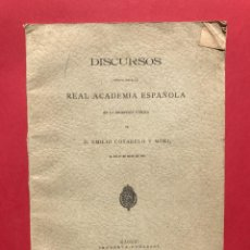 Libros antiguos: 1900 - DISCURSOS ANTE LA REAL ACADEMIA - EMILIO CORTARELO MORI - MENENDEZ PIDAL. Lote 246487920
