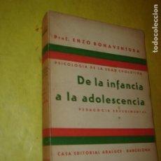 Libros antiguos: DE LA INFANCIA A LA ADOLESCENCIA. PEDAGOGÍA EXPERIMENTAL. ENZO BONAVENTURA. AÑO 1932.1ª EDIC.. Lote 246711655