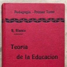 Libros antiguos: TEORÍA DE LA EDUCACIÓN POR RUFINO BLANCO Y SÁNCHEZ. PEDAGOGÍA (PRIMER TOMO).REVISTA DE ARCHIVOS 1912. Lote 146117054
