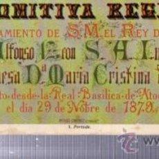 Libros antiguos: COMITIVA REGIA EN EL CASAMIENTO DE S.M. REY DE ESPAÑA D. ALFONSO XII CON DOÑA Mª CRISTINA DE AUSTRIA. Lote 34139606