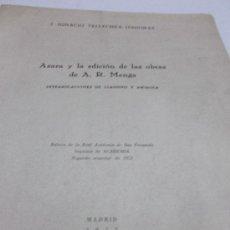 Libros antiguos: J. IGNACIO TELLECHEA IDIGORAS: AZARA Y LA EDICION DE LAS OBRAS DE A. R. MENGS. INTERPOLACIONES DE . Lote 37553909