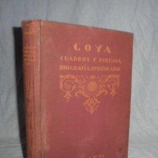 Libros antiguos: CUADROS,DIBUJOS Y AGUAFUERTES DE DON FRANCISCO DE GOYA - ZAPATER - AÑO 1924.. Lote 41819371
