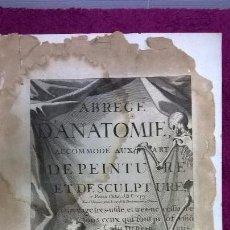 Libros antiguos: ABREGÉ D'ANATOMIE, ACCOMMODÉ AUX ART DE PEINTURE ET DE SCULPTURE. PARIS. FRANÇOISE TORTEBAT 1760. Lote 79662393