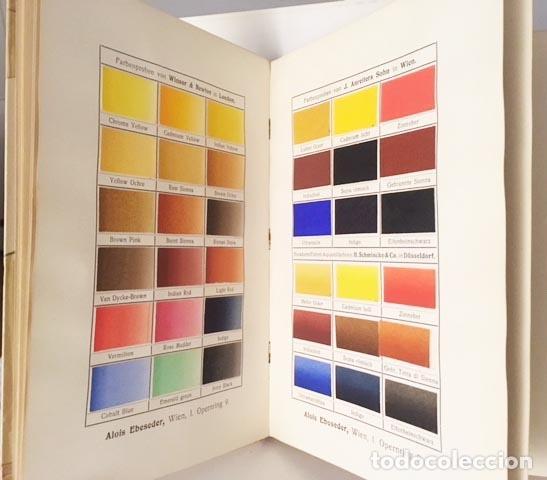 Libros antiguos: Die Technik der Aquarell-Malerei (Técnica de la acuarela. Viena, 1912) Muestras de papel y colores - Foto 3 - 105864251