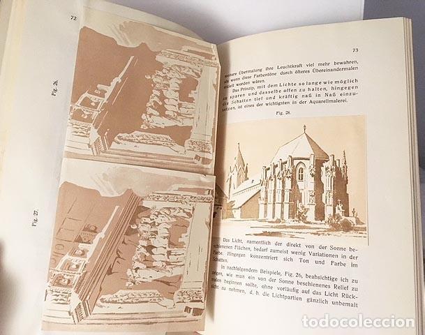 Libros antiguos: Die Technik der Aquarell-Malerei (Técnica de la acuarela. Viena, 1912) Muestras de papel y colores - Foto 4 - 105864251