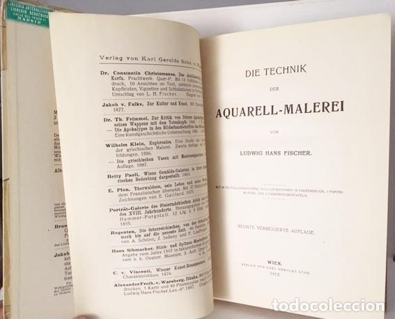 Libros antiguos: Die Technik der Aquarell-Malerei (Técnica de la acuarela. Viena, 1912) Muestras de papel y colores - Foto 6 - 105864251