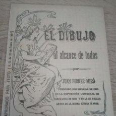Libros antiguos: EL DIBUJO AL ALCANCE DE TODOS - JUAN FERRER MIRÓ - CUADERNO 2º - ENERO 1907. Lote 121710055