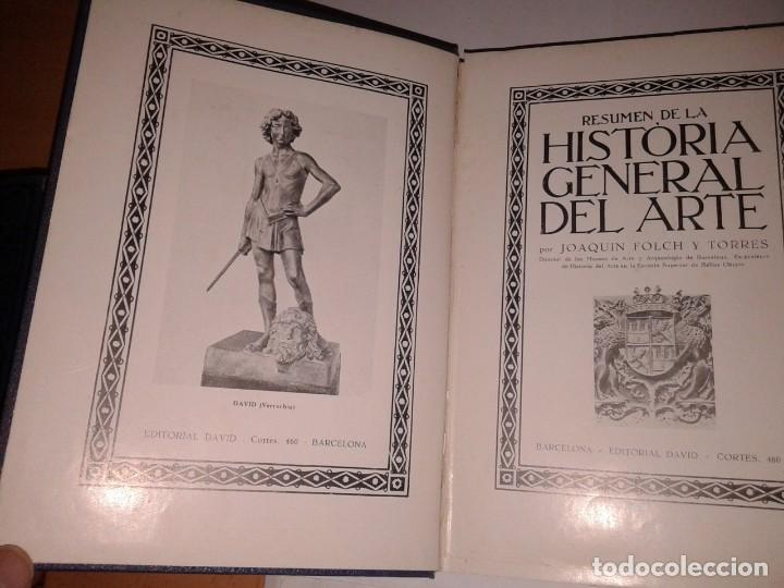 Libros antiguos: RESUMEN DE LA HISTORIA GENERAL DEL ARTE - Foto 2 - 130865236