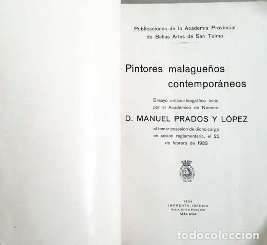 Libros antiguos: Prados : Pintores malagueños contemporáneos (Málaga, 1933) Bernardo Ferrándiz; Emilio Ocón; J. Denis - Foto 4 - 131617626