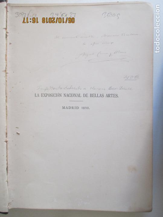 Libros antiguos: LA EXPOSICIÓN NACIONAL DE BELLAS ARTES DE MADRID 1890. TEXTO POR AUGUSTO COMAS Y BLANCO. - Foto 2 - 135520522