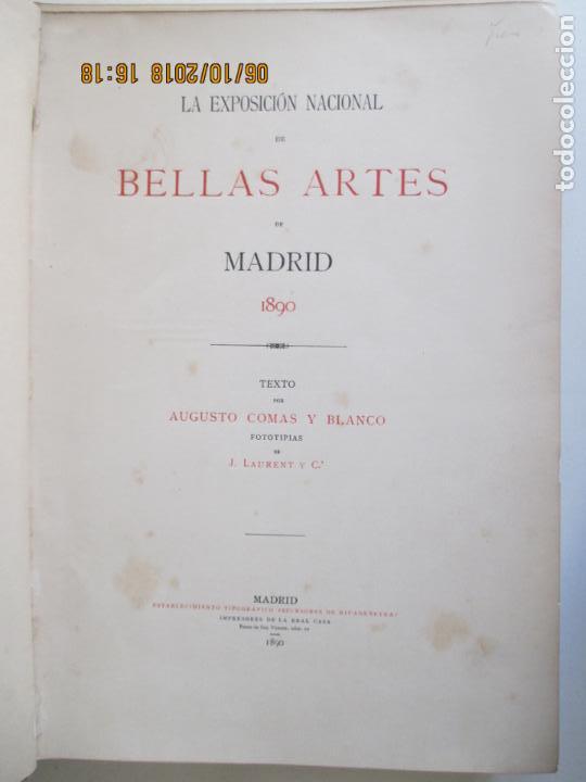 Libros antiguos: LA EXPOSICIÓN NACIONAL DE BELLAS ARTES DE MADRID 1890. TEXTO POR AUGUSTO COMAS Y BLANCO. - Foto 3 - 135520522