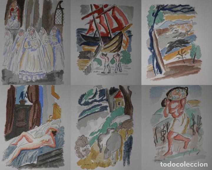 Libros antiguos: 46 ACUARELAS DE WALTER BRANDAO FEDER (1909-1957) SUITE DE ACUARELAS DE FEDER, LA NUMERO 1 DE 50 UNID - Foto 3 - 141709542