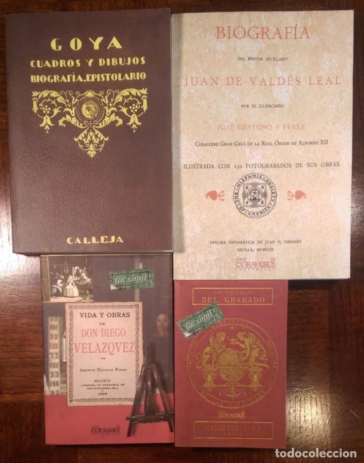 4 LIBROS FACSÍMILES RELATIVOS A LA PINTURA. VELÁZQUEZ GOYA VALDÉS LEAL HISTORIA DEL GRABADO (Libros Antiguos, Raros y Curiosos - Bellas artes, ocio y coleccion - Pintura)