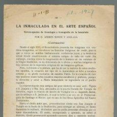 Libros antiguos: LA INMACULADA EN EL ARTE ESPAÑOL, POR ANDRÉS BOSCH Y ANGLADA. AÑO 1929/54. (MENORCA.2.1). Lote 154506194