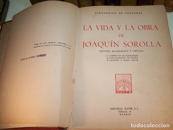 Libros antiguos: La vida y la obra de Joaquín Sorolla. Estudio biográfico y crítico. Bernardino de Pantorba. 1953. - Foto 2 - 172166559