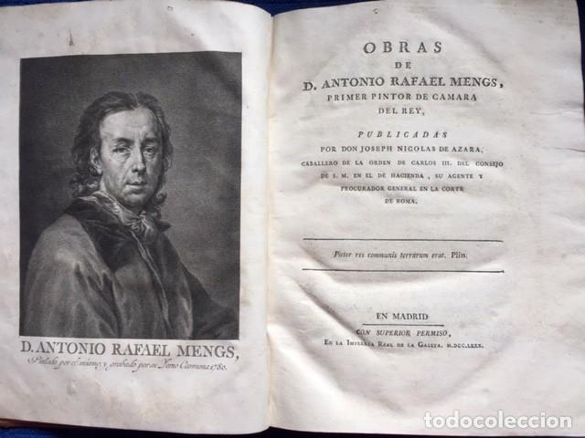 OBRAS DE D. ANTONIO RAFAEL MENGS, PRIMER PINTOR DE CÁMARA DEL REY. JOSEPH NICOLAS DE AZARA (1780). (Libros Antiguos, Raros y Curiosos - Bellas artes, ocio y coleccion - Pintura)