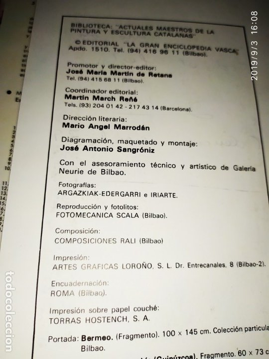 Libros antiguos: 1974 MIGUEL CARBONELL MAESTROS ACTUALES DE LA PINTURA ESCULTURA CATALANA 40 DEDICADO A PADRÓ UNICO - Foto 14 - 175512933